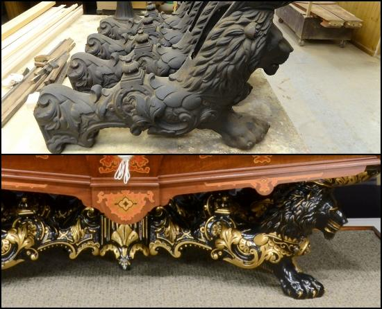 Lions Head Legs On Monarch Table, Before And After.