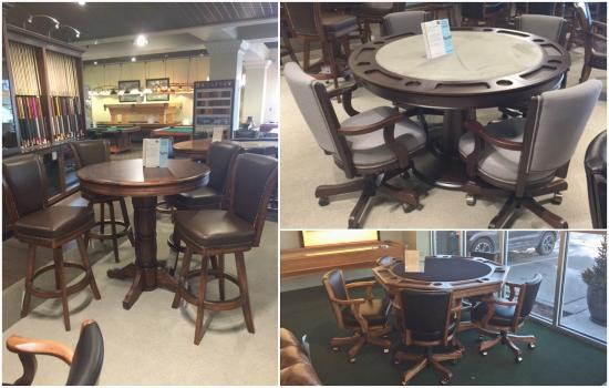 ... As A 5 Caster Base, Adjustable Height, And Tilt/rocker Adjustment  Capabilities. One Game Table Is Shown At Pub Height With Comfortable  Flex Back Stools ...