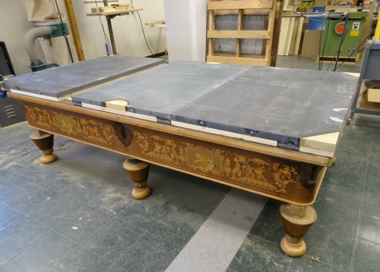How To Install A Pool Table Slate Installation Home Billiards >> Antique Pool Table Restoration Part 2 Entertaining Design