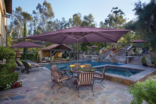 Size – Consider the area the umbrella will occupy and/or the size of the  table when selecting the size and shape of the umbrella. - Your Guide To Patio Umbrellas - Entertaining Design