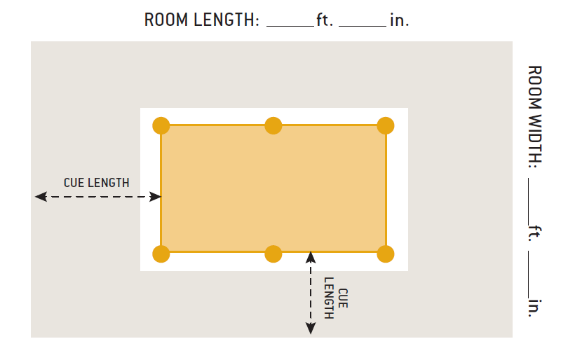 Service repair room size chart peters billiards - Space needed for pool table ...